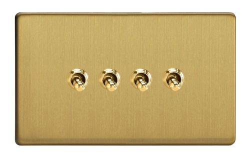 Varilight XDBT9S Screwless Brushed Brass 4 Gang 10A 1 or 2 Way Toggle Light Switch